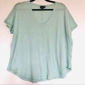 Out From Under aqua green blue v neck flow shirt S